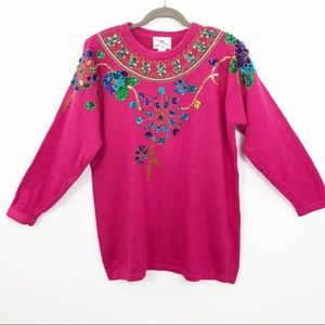 Vintage 90s Sweater Sequined Beaded